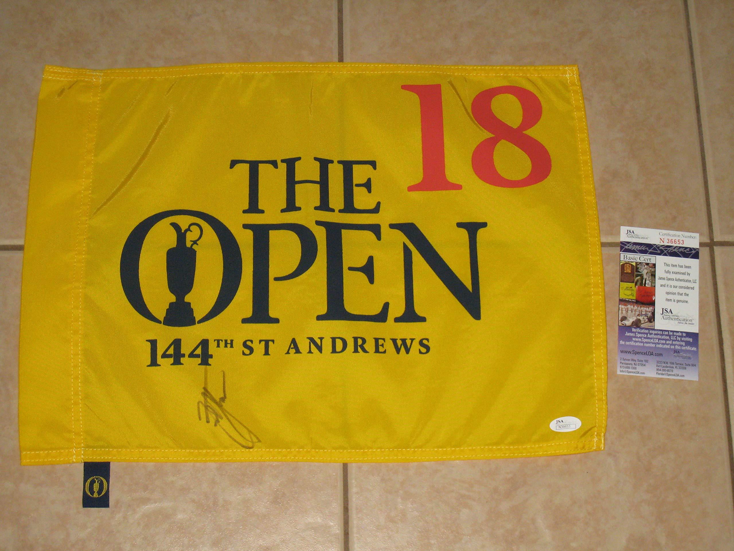 2015 British Open Tournament Golf Flag signed by Zach Johnson Winner JSA COA