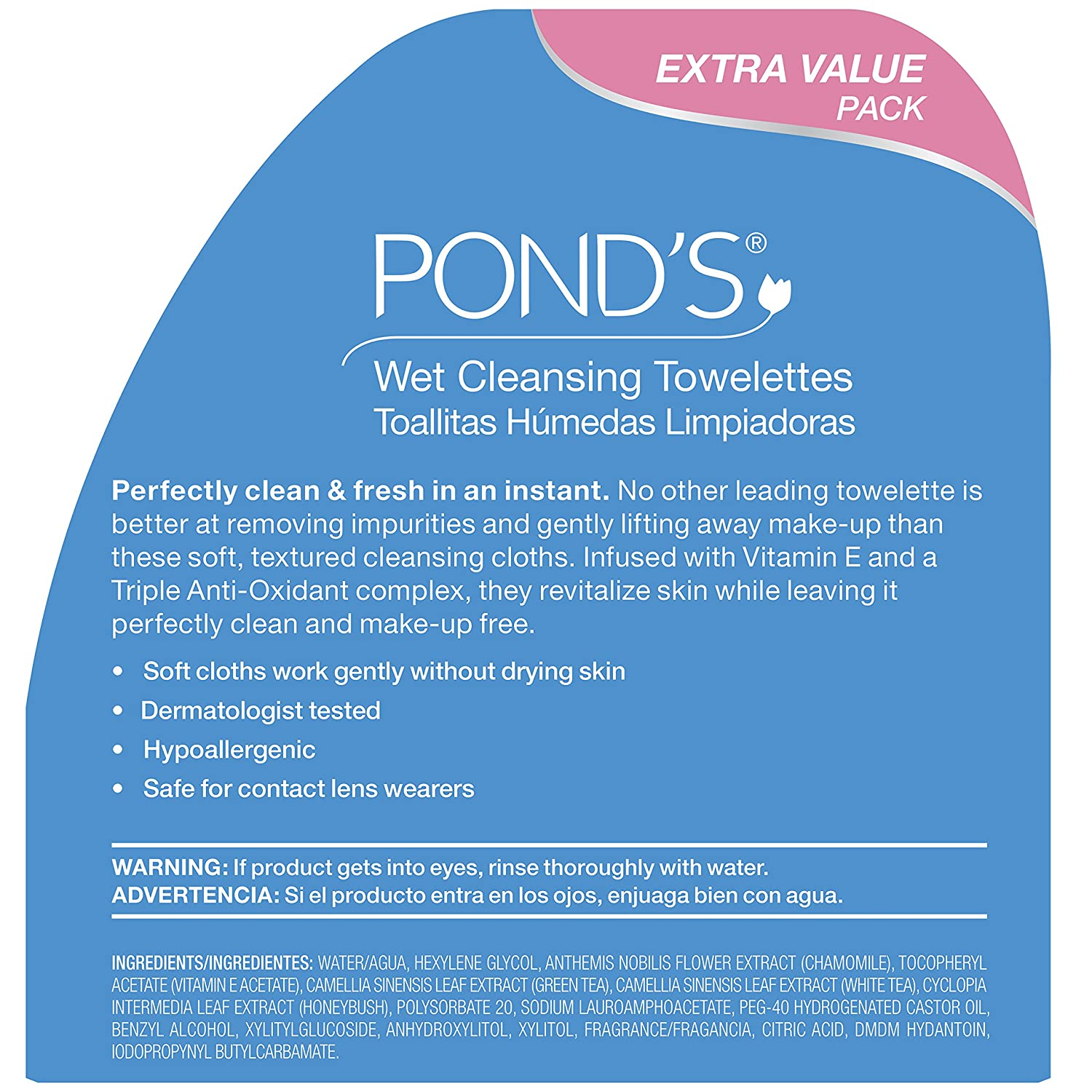 Amazon.com : Ponds Original Fresh Wet Cleansing Towelettes, With Vitamin E, 30 Towelettes (Pack of 3) : Beauty