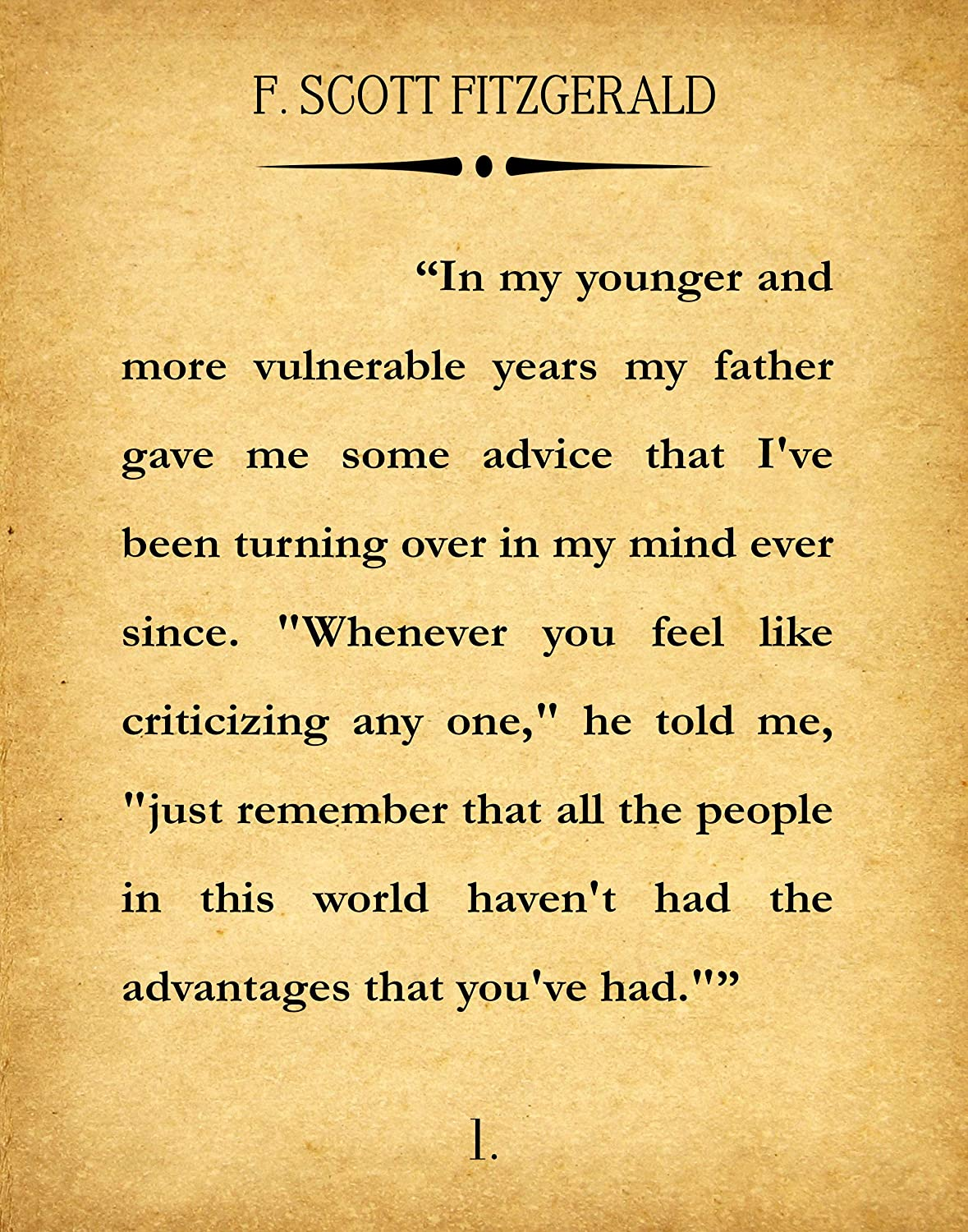 The Great Gatsby First Page Book Wall Art Literary Print F. Scott Fitzgerald Wall Art Quote Book Poster Literature Gift (16 x 20, Vintage)