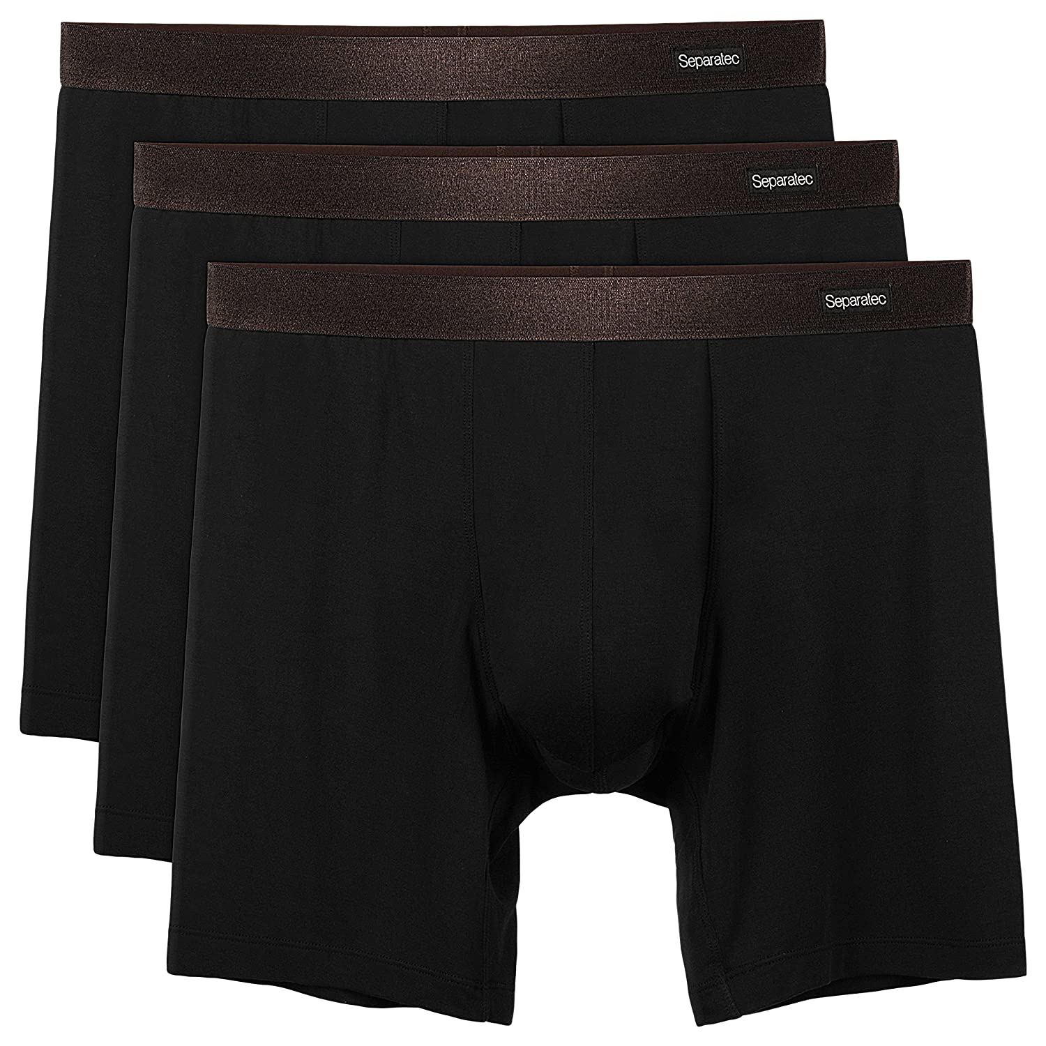 Separatec Men's 3 Pack Basic Bamboo Rayon Soft Breathable Pouch Underwear Boxer Briefs