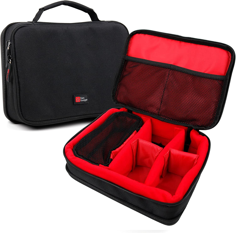 DURAGADGET Bolsa Acolchada Profesional Negra con Compartimentos e Interior en Rojo para maquinilla de Afeitar/Corta Pelo Braun Series 3 310S / YOHOOLYO/GHB Cortapelos/ELEHOT