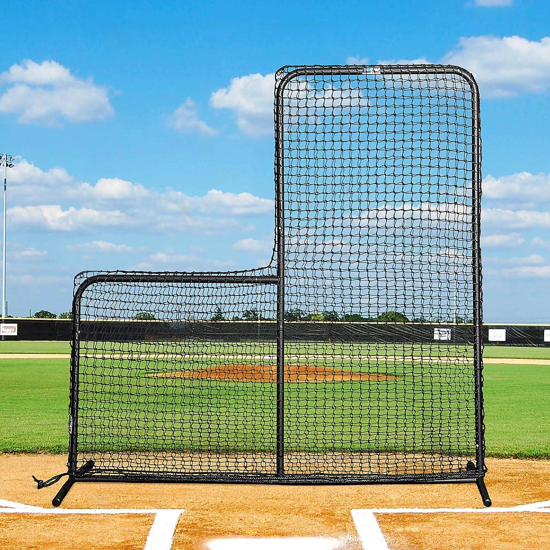 FORTRESS 7ft x 7ft Baseball L-Screen – Baseball Pitching Screen Frame and Net [Net World Sports]