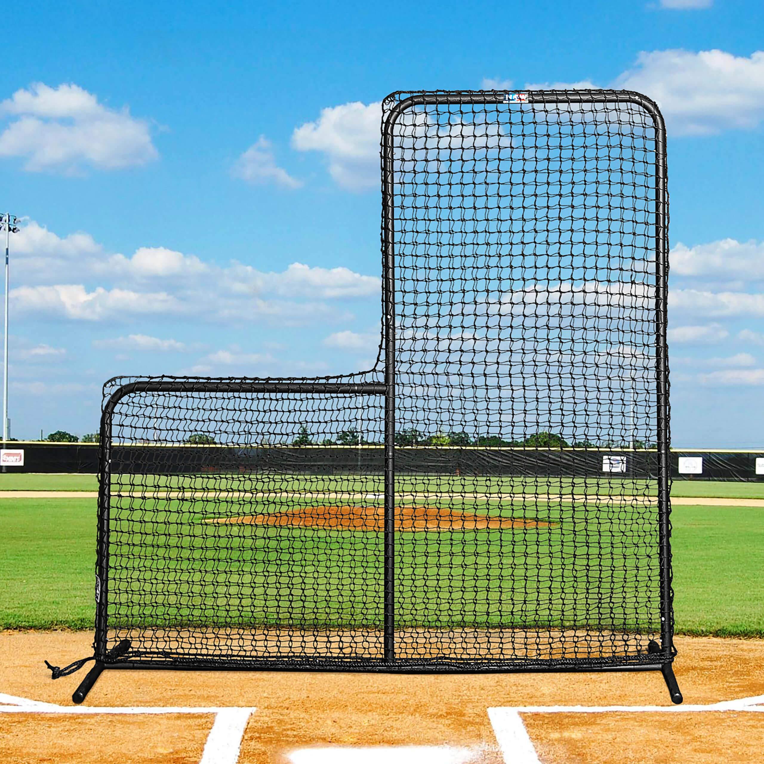 FORTRESS 7' x 7' Pitcher L-Screen Frame & #42 Heavy Duty Net with 42'' Drop by Net World Sports