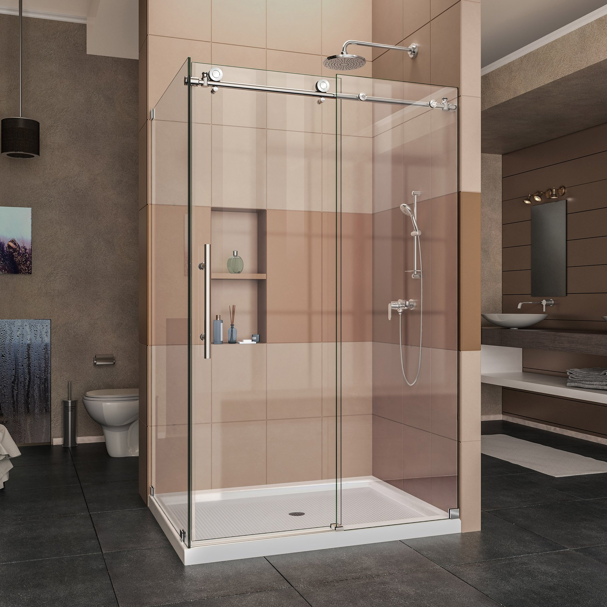 DreamLine Enigma-X 34 1/2 in. D x 44 3/8-48 3/8 in. W, Frameless Sliding Shower Enclosure, 3/8'' Glass, Polished Stainless Steel Finish