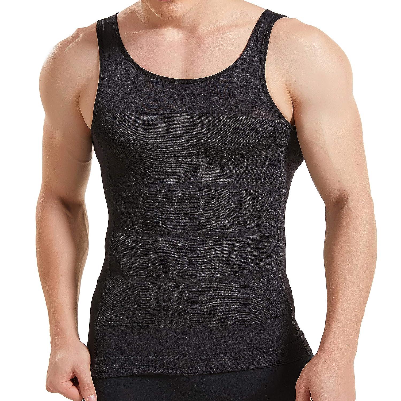 298caa1f7b Amazon.com  HANERDUN Mens Body Shaper Slimming Shirt Compression Vest  Elastic Slim Shapewear  Clothing