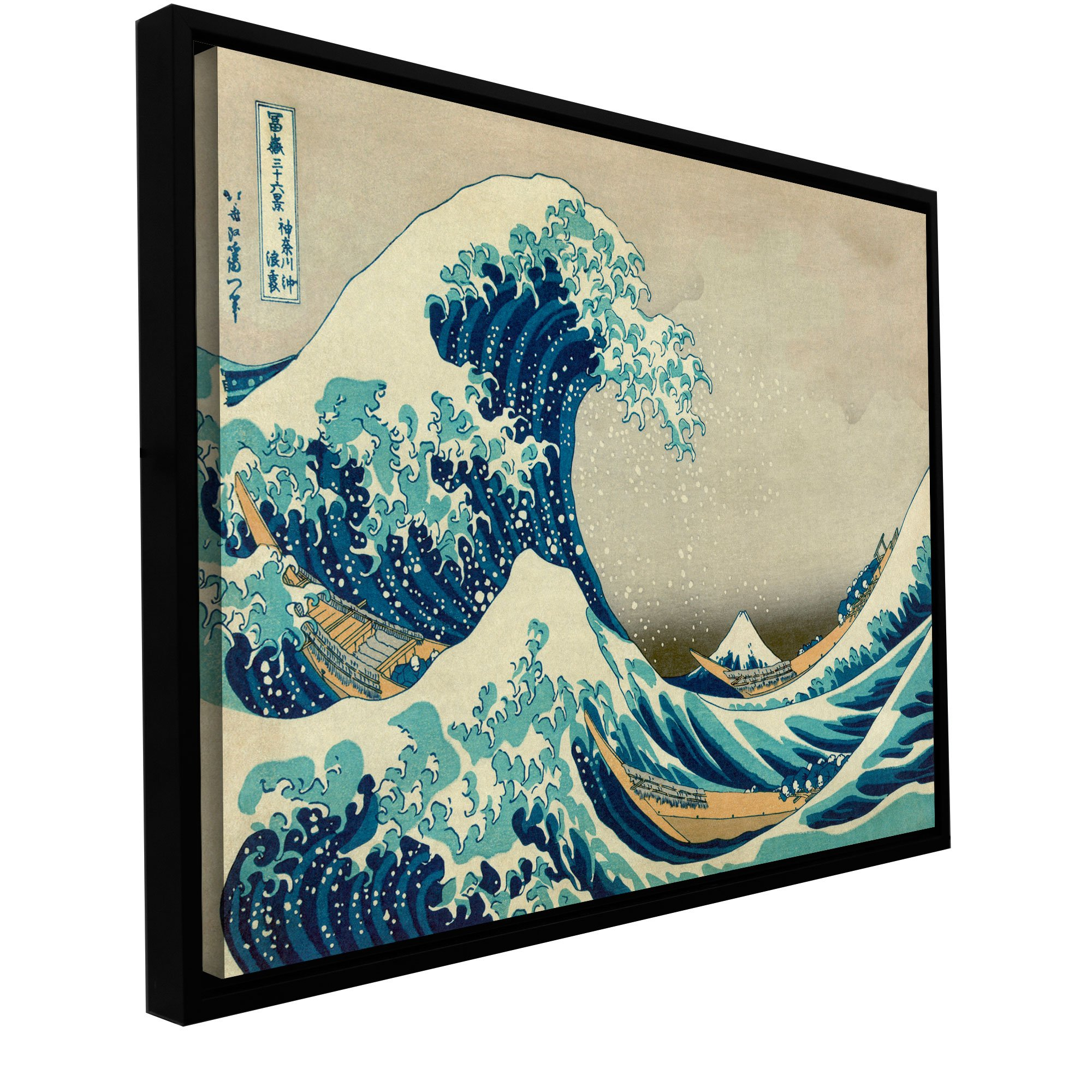 ArtWall Katsushika Hokusai 'The Great Wave Off Kanagawa' Floater framed Gallery Wrapped Canvas Artwork, 36 by 48-Inch by Art Wall