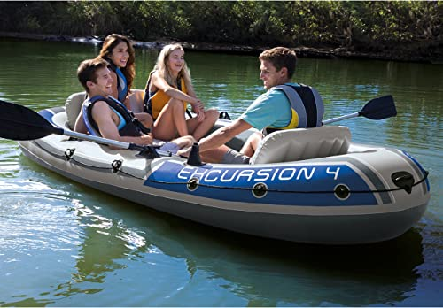 Intex Excursion 4, 4-Person Inflatable Boat Set with Aluminum Oars and High Output Air Pump Latest Model