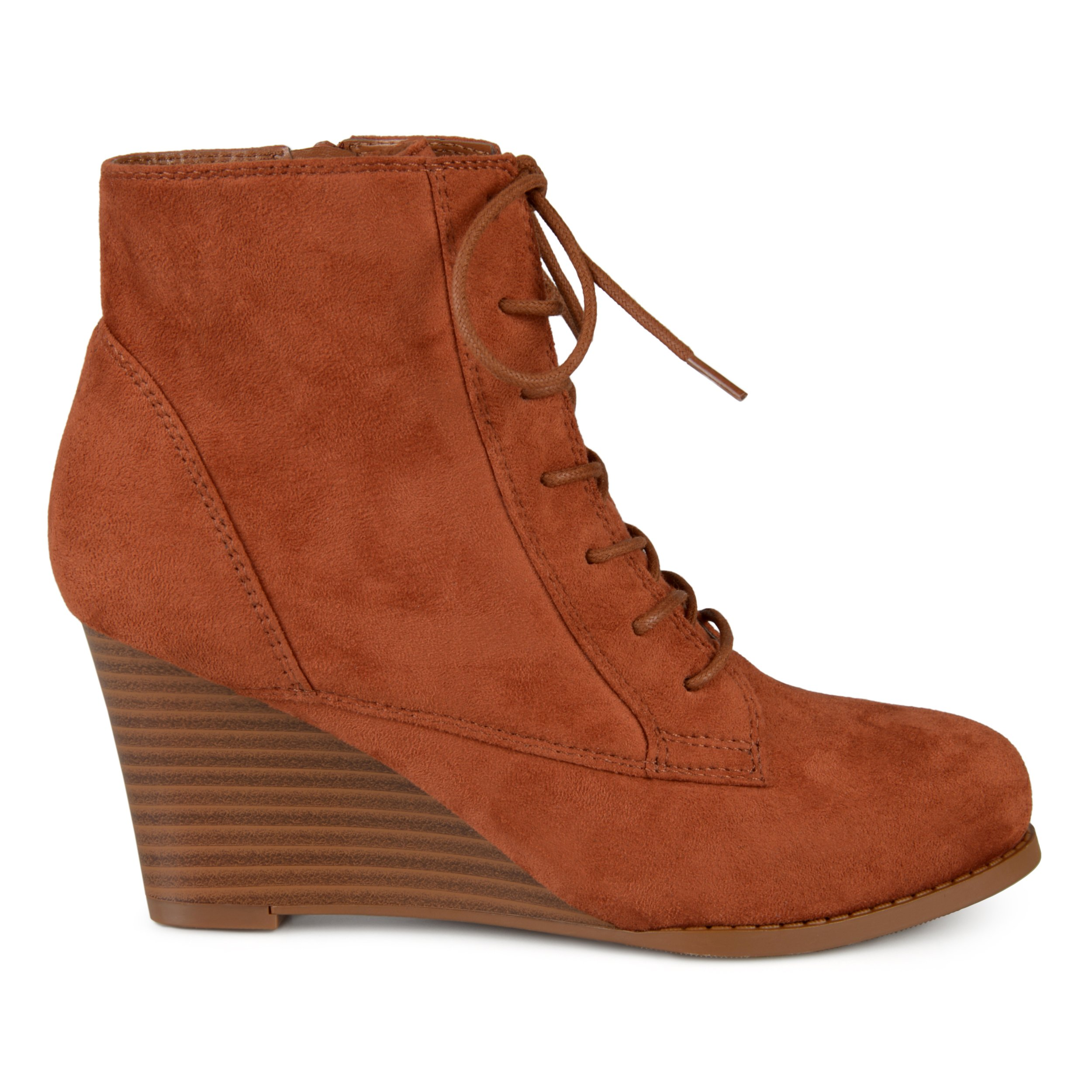 Brinley Co. Womens Lace-up Faux Suede Stacked Wedge Booties Rust, 7.5 Regular US