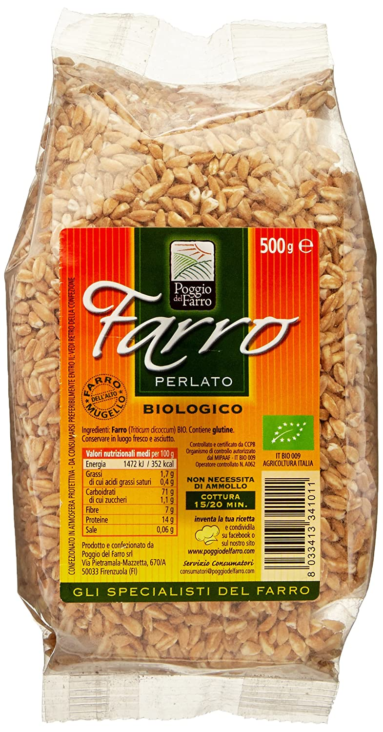 Amazon.com : Farro Perlato From Poggio Del Farro- 500 Grams- Organic : Semi Pearled Farro : Grocery & Gourmet Food