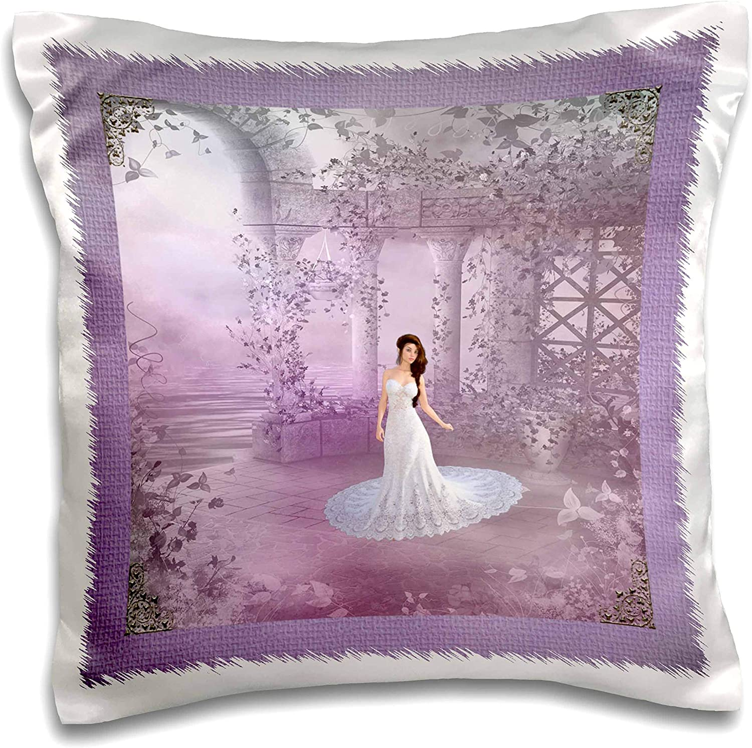 3dRose Image of Bride on the Garden Terrance Lavender Pink White - Pillow Cases (pc_335261_1)
