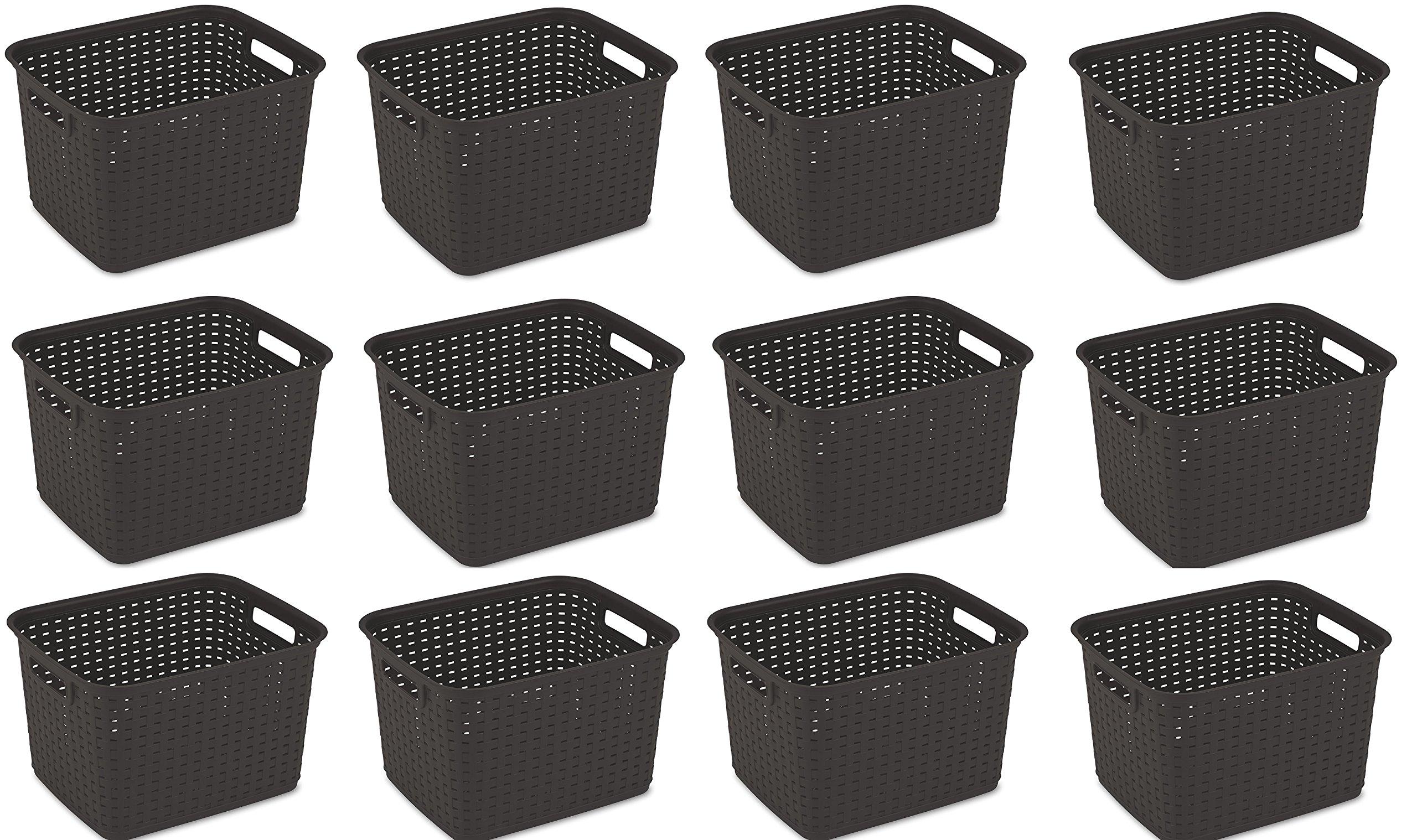 Sterilite 12736P06 Tall Weave Basket, Espresso, 6-Pack (Basket 12-Pack)