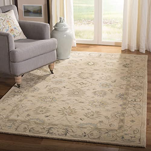 Safavieh Anatolia Collection AN572A Handmade Traditional Oriental Taupe and Blue Wool Area Rug 8 x 10