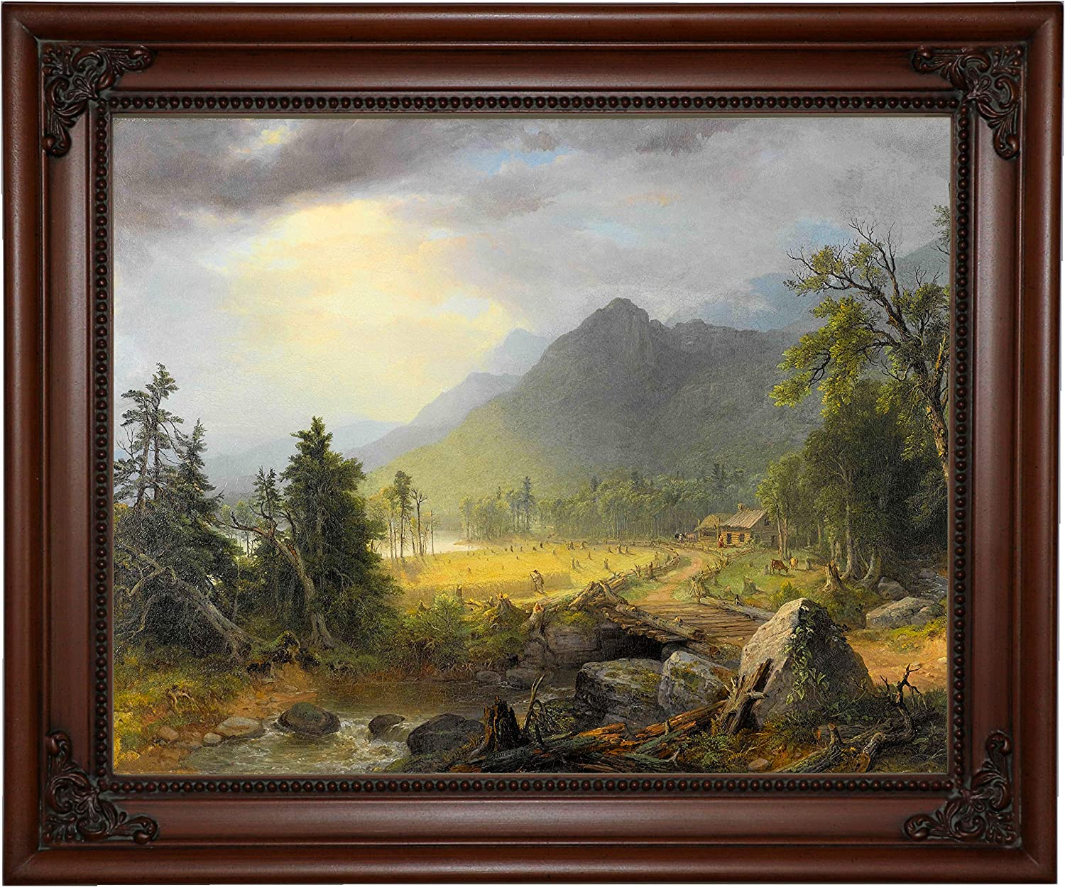 Amazon Com Historic Art Gallery The First Harvest In The Wilderness 1855 By Asher B Durand Framed Canvas Print Size 11x14 Brown Posters Prints