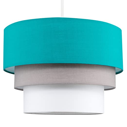 Beautiful round modern 3 tier turquoise teal grey and white fabric beautiful round modern 3 tier turquoise teal grey and white fabric ceiling designer pendant lamp aloadofball Choice Image