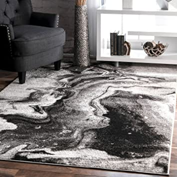 NuLOOM BDSM11A Grey Remona Abstract Area Rug 5 X 8