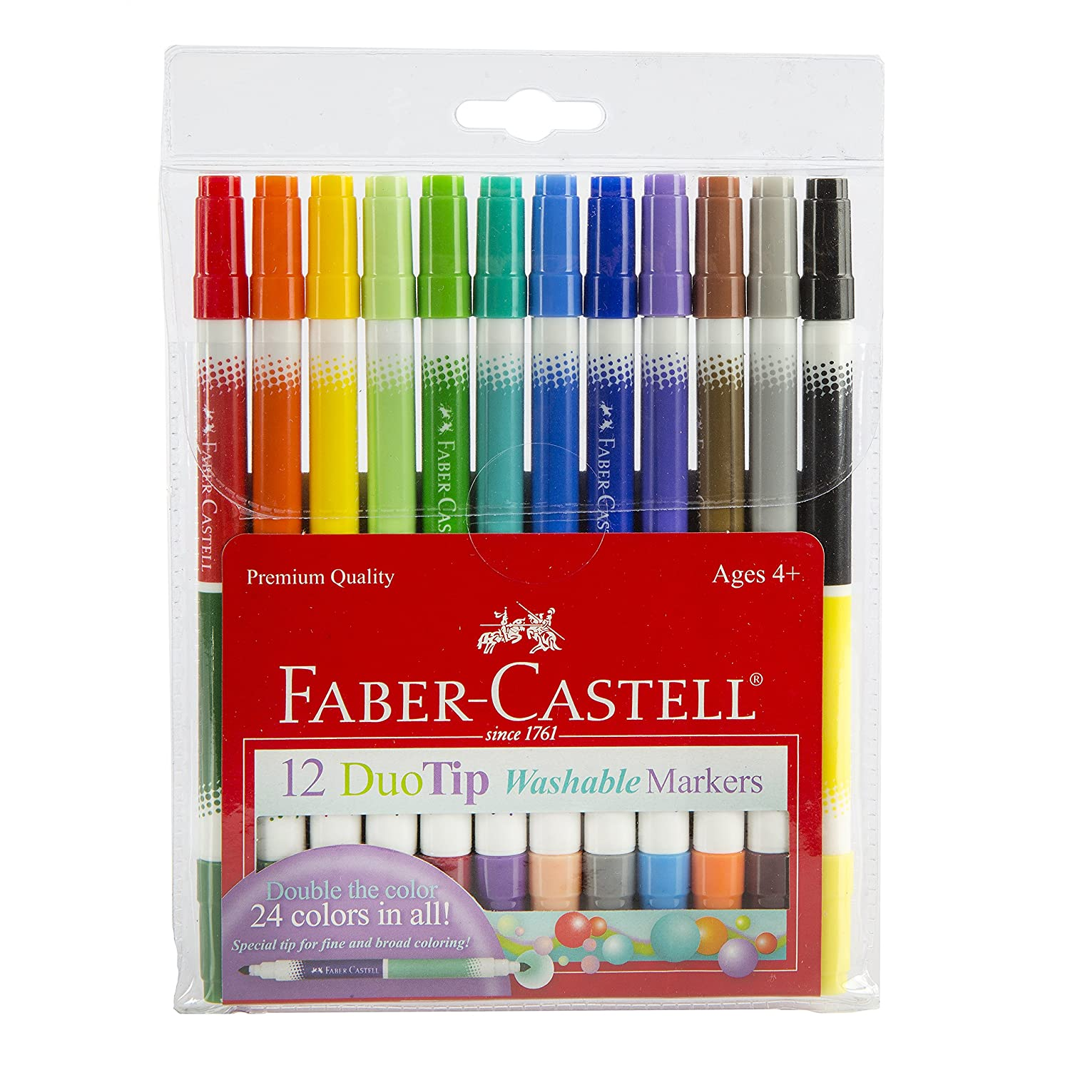 Faber-Castell DuoTip Washable Markers - 24 Markers, 48 Colors Faber and Castell 153024