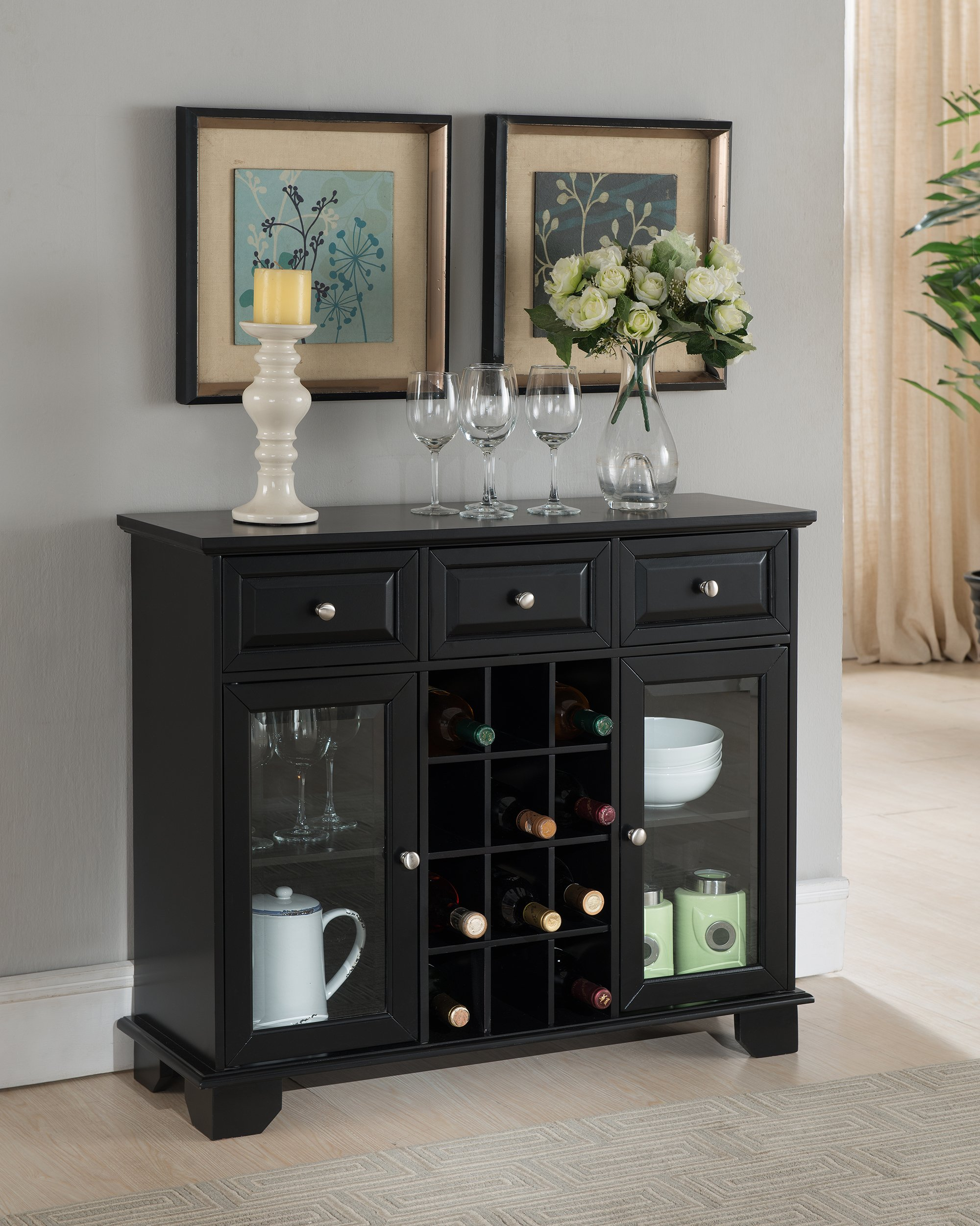 Kings Brand Furniture Buffet Server Sideboard Cabinet with Wine Storage, Black