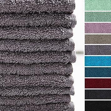Lumaland Premium Set 10 toallitas Suaves Bidet 30 x 30 Hechas de 100% algodón 500 g/m² con Cinta para Colgar Gris: Amazon.es: Hogar