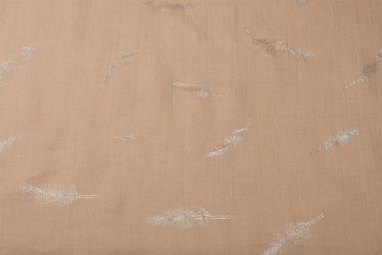 /écharpe pour femmes 01016117 styleBREAKER /écharpe snood avec motif imprim/é de plumes m/étalliques brillantes toile