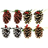 Set of 8 Pine Cone Ornaments/Decorations (8 Pack)