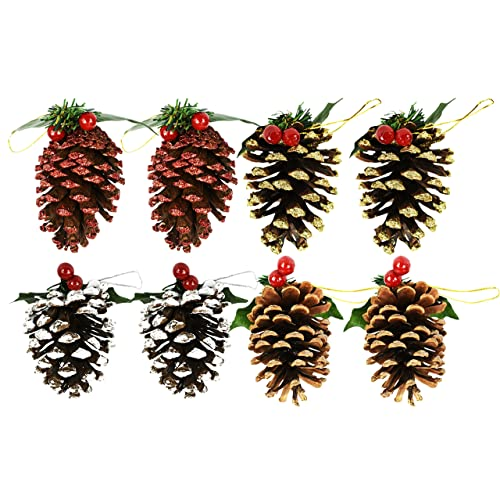 set of 8 pine cone ornamentsdecorations 8 pack