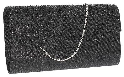 4ca3a8639cb Montary Diamante Envelope Womens Clutch Bag Ladies Clutch Purse Evening Bag  - All Black
