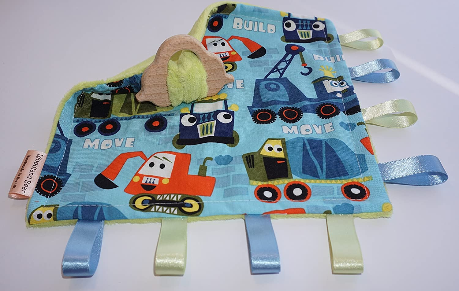 Teething baby blanket comforter - Trucks - organic wooden teething car - CE certified from birth