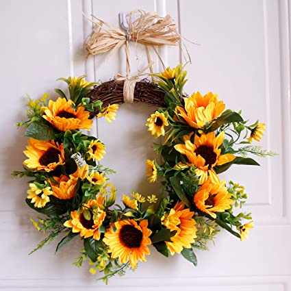 Amazon Com Dseap Wreath 16 Sunflower Rustic Farmhouse