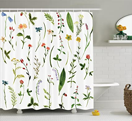 Superieur Ambesonne Watercolor Flower Decor Shower Curtain By, Set Of Different Kind  Of Flowers And Herbs