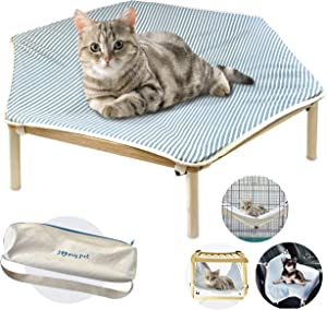 I'm Wooden Elevated Portable Cooling Pet Dog Cat Bed Raised Cot Hammock Washable Cotton Canvas