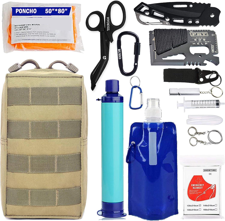 Equipo de equipo de supervivencia EDC de emergencia: purificador de filtro de agua personal Paja, bolsa Molle Herramientas tácticas de defensa contra el trauma táctico Pero bolsa para acampar Senderis