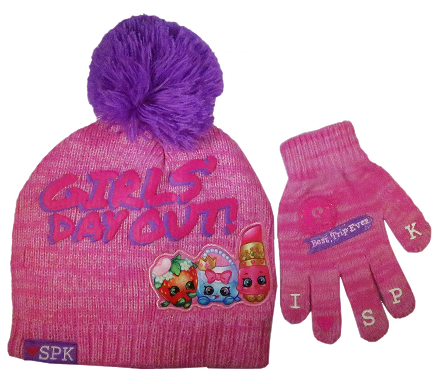 Size Girls 4-14 Shopkins Girls Beanie knitted Winter Hat and 2 pair Glove Set 4014