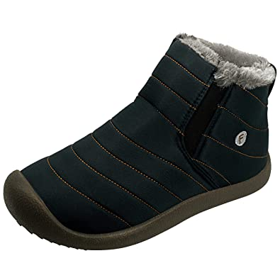 d9b4aae5d8b84 NEW-Vi Winter Snow Boots,Warm Ankle Boots Slip-on Water Resistant Booties  Men Women,Lightweight Winter Shoes Full Fur