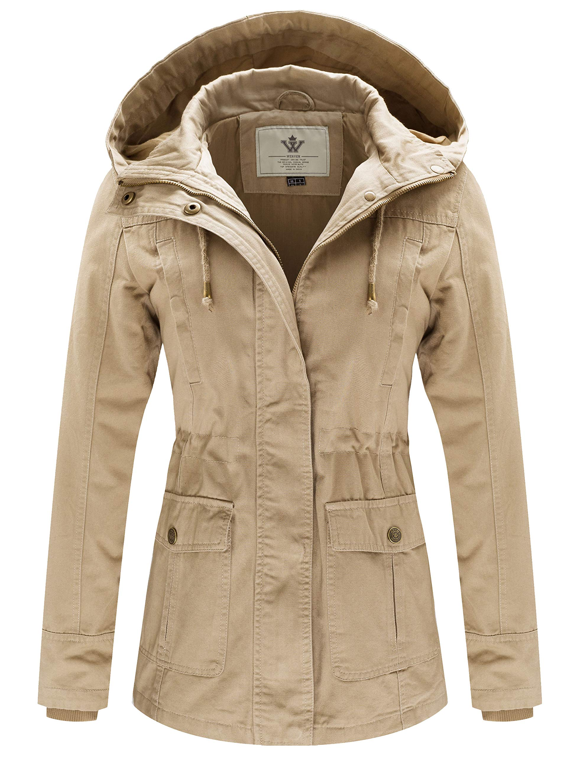 WenVen Women's Spring Cotton Military Coat Anorak Hooded Jacket(Khaki, M) by WenVen