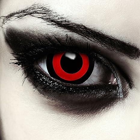 Mini sclera lentillas de colores negro y rojo para Halloween Saw ...