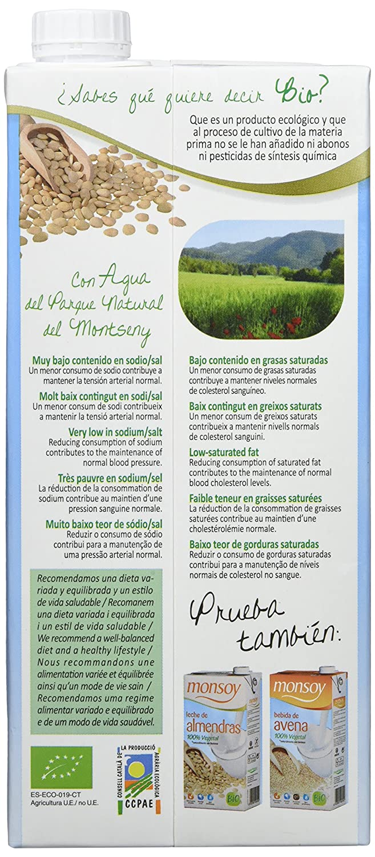 MONSOY Bebida de Almendras con Agave Ecologica 1L [caja de 4 x 1L]: Amazon.es: Alimentación y bebidas