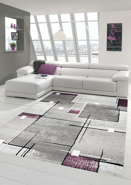Designer Teppich Moderner Teppich Wohnzimmer Teppich Kurzflor Teppich Konturenschnitt Karo Muster Grau Weiß Lila Größe 200 x 290 cm