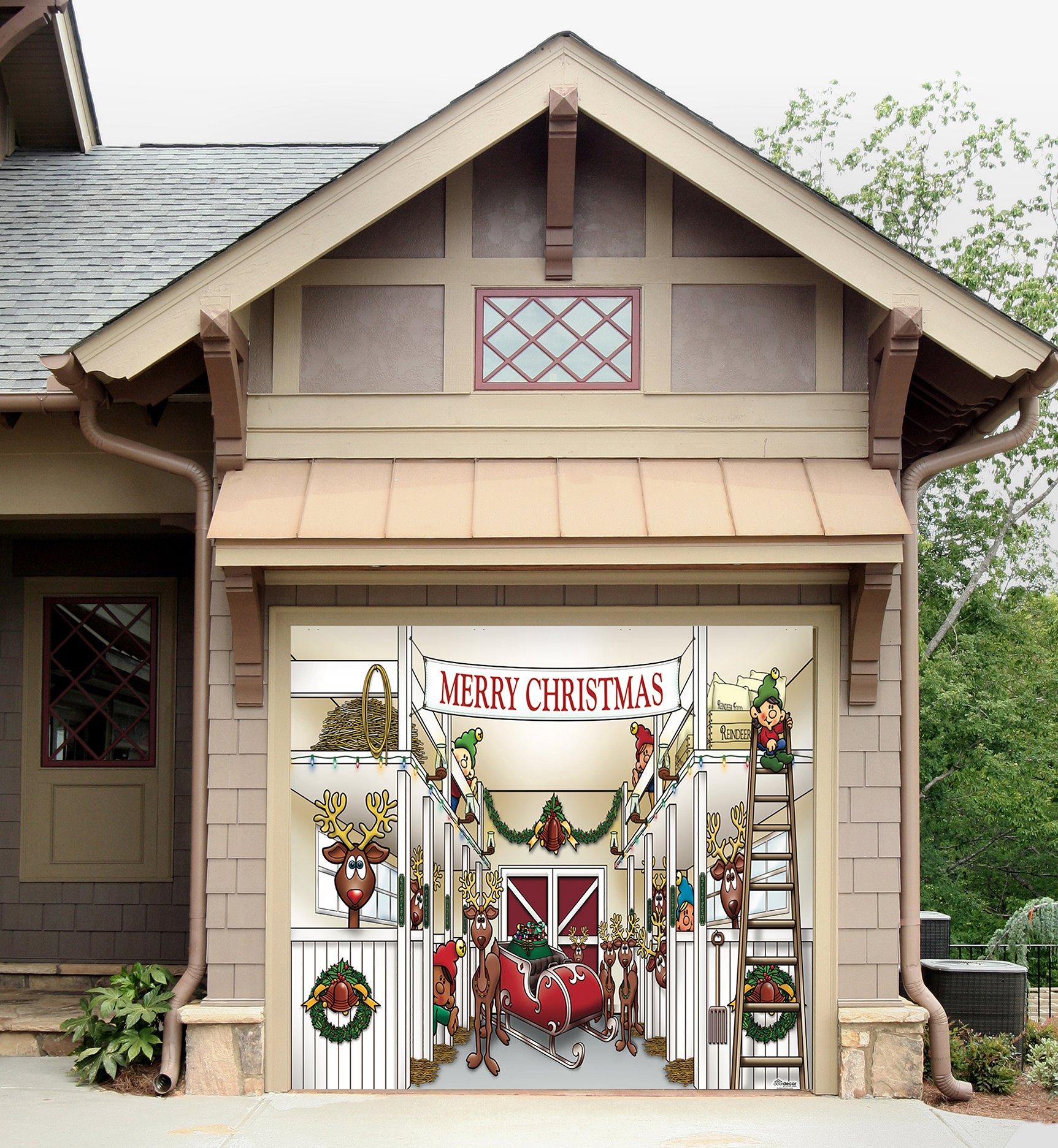 Outdoor Christmas Holiday Garage Door Banner Cover Mural Décoration - Santa's Reindeer Barn without Santa Holiday Garage Door Banner Décor Sign 8'x9'