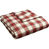 Pinzon 160 Gram Plaid Flannel Duvet Cover - King, Cream/Red Plaid - FLDC-BRPL-KG
