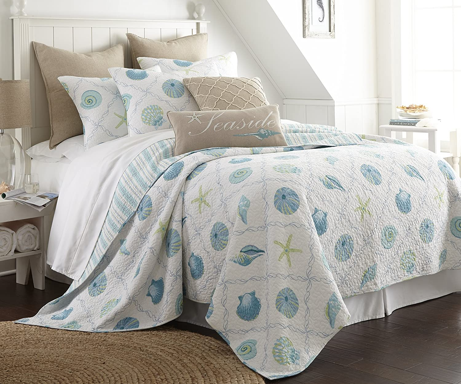 amazoncom marine dream seaglass king quilt set white aqua coastal home u0026 kitchen