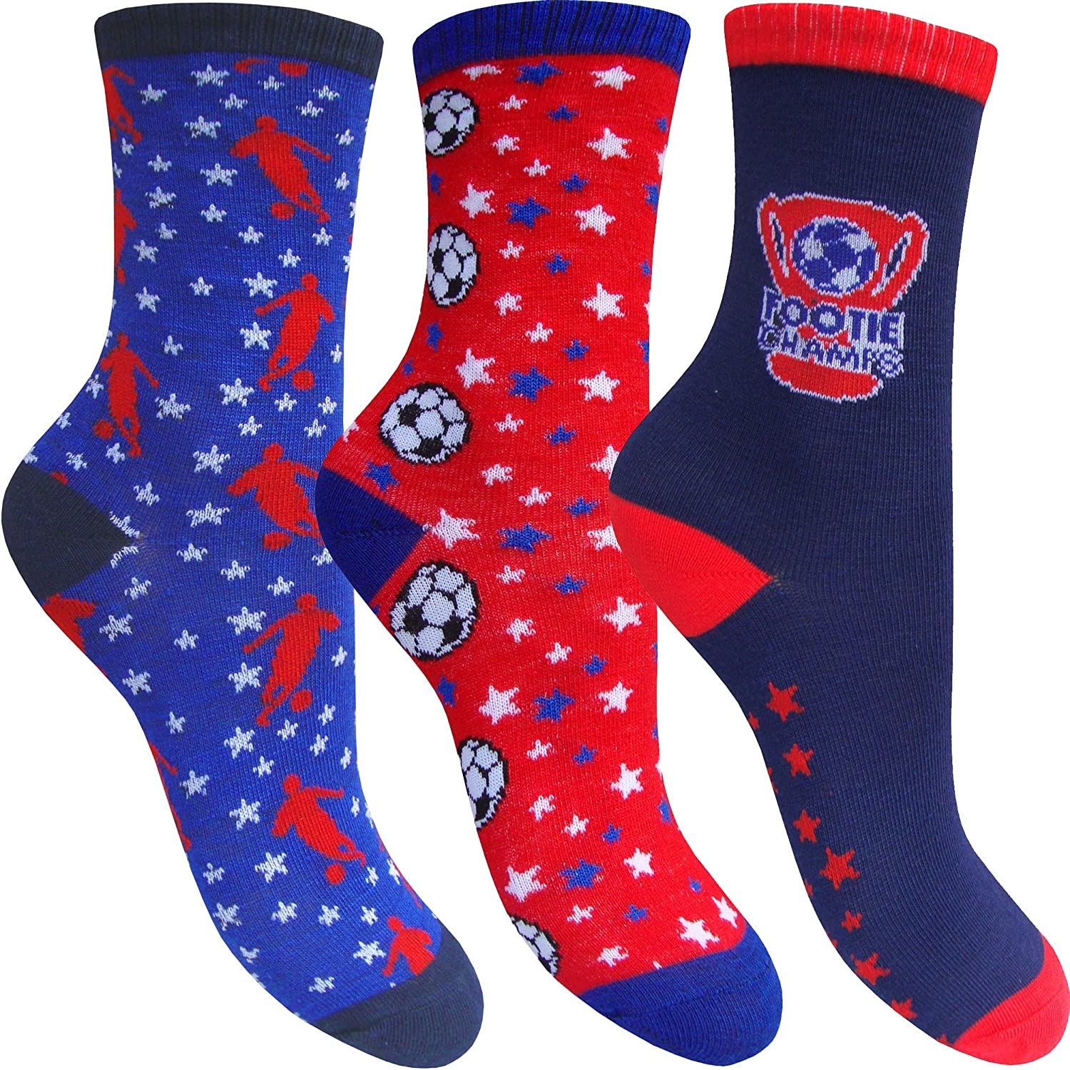 3 Pair Pack Boys Red /& Blue Super Soft Footy Mad Football Champion Socks