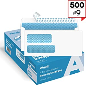 500#9 Double Window SELF Seal Security Envelopes - for Invoices, Statements & Documents, Security Tinted - Size 3-7/8 x 8-7/8-24 LB - 500 Count (30139)