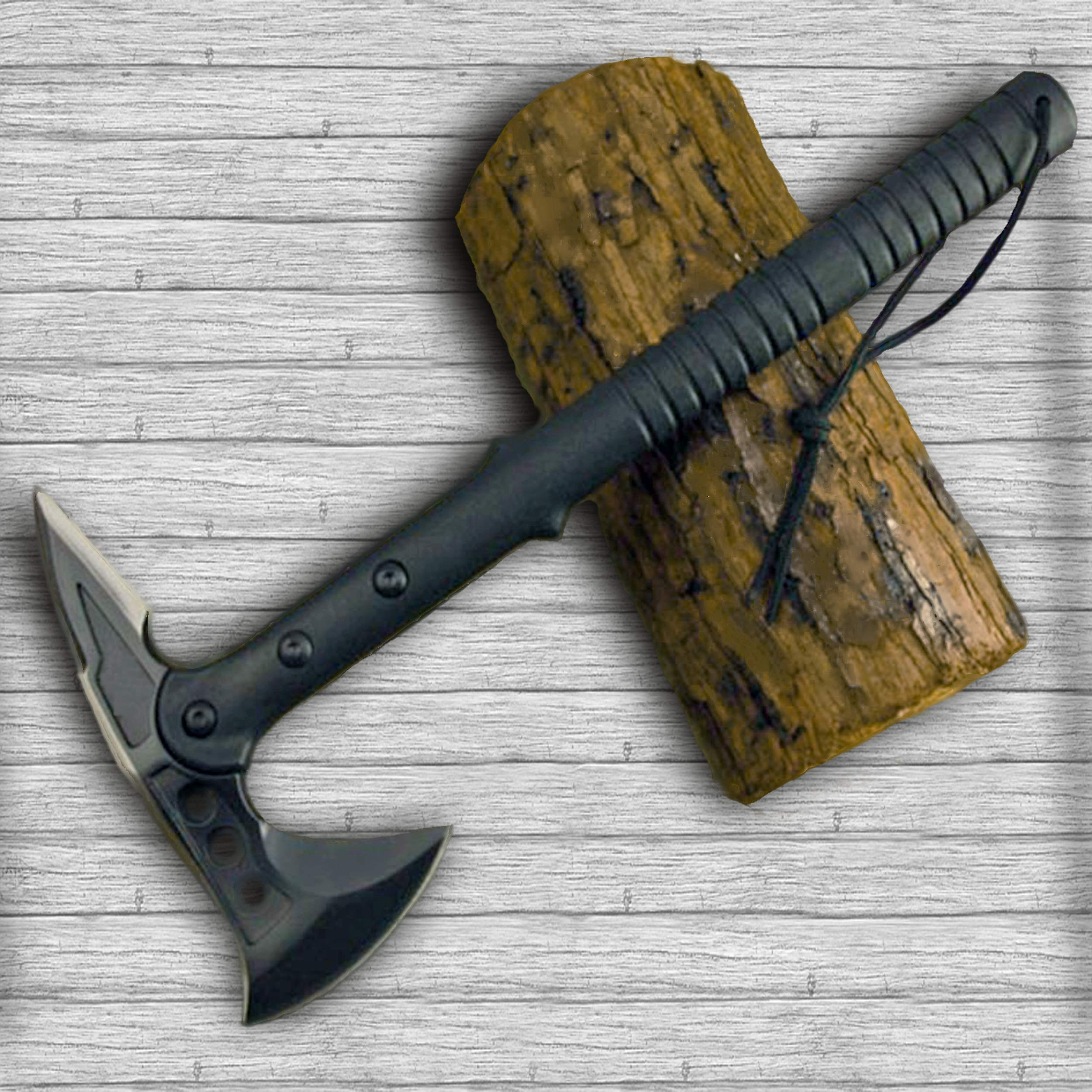 TS09 Tomahawk Axe, Professional Survival and Camping Chopper with Leather Sheath, SS420HC Blade, Glass Fiber Handle