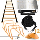 Ulimate Speed Training Set - Agility Ladder, Bungee Resistance Cord, 4 Adjustable Hurdles, 12 Sport Cones and Exercise Folder - Premium Training Kit for Increased Acceleration & Speed