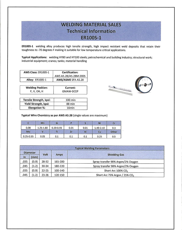 "ER100S-1 X 1//16/""X 36/"" X 10 lb box TIG rod Blue Demon high tensile welding wire"
