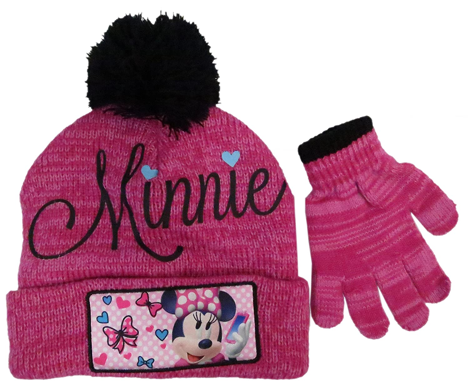 Disney Girl's Minnie Mouse Hat and Gloves Winter Set, Red BioWorld 00-HD5PCB-2R