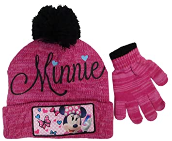 0bab11dc3ba Disney Girls  Minnie Mouse Pink Beanie Hat and Glove Set – Size 4-14  4014