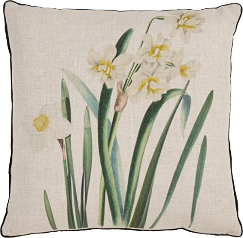 SARO LIFESTYLE Floriculture Collection Daffodil Print Throw Pillow 18 Natural