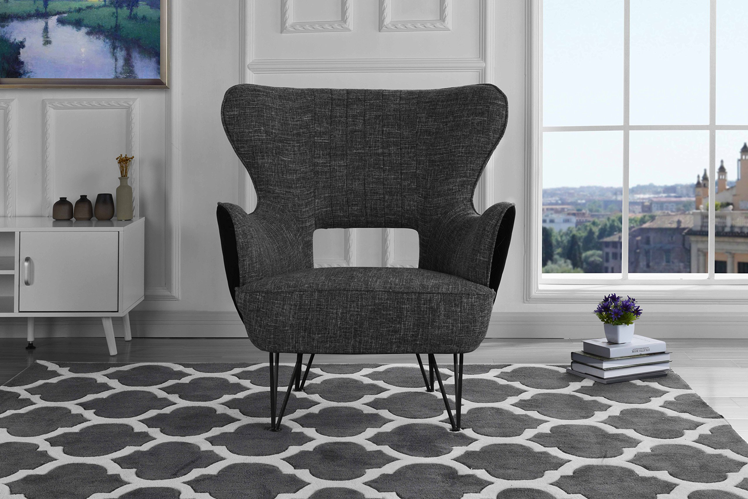 Mid-Century Modern Two-Tone Linen Fabric Accent Armchair with Shelter Style Living Room Chair (Dark Grey/Black) - Armchair with a futuristic yet mid-century modern feel with shelter frame and other modern accents. Features hand picked soft linen and microfiber two-tone fabric with a pleated detail on back rest and pin-legs. Hardwood frame with upholstery in various colors to best fit your decor and style. Tight seat filled with high density foam with comfort foam around frame and back as well. - living-room-furniture, living-room, accent-chairs - 91uVLObaI2L -