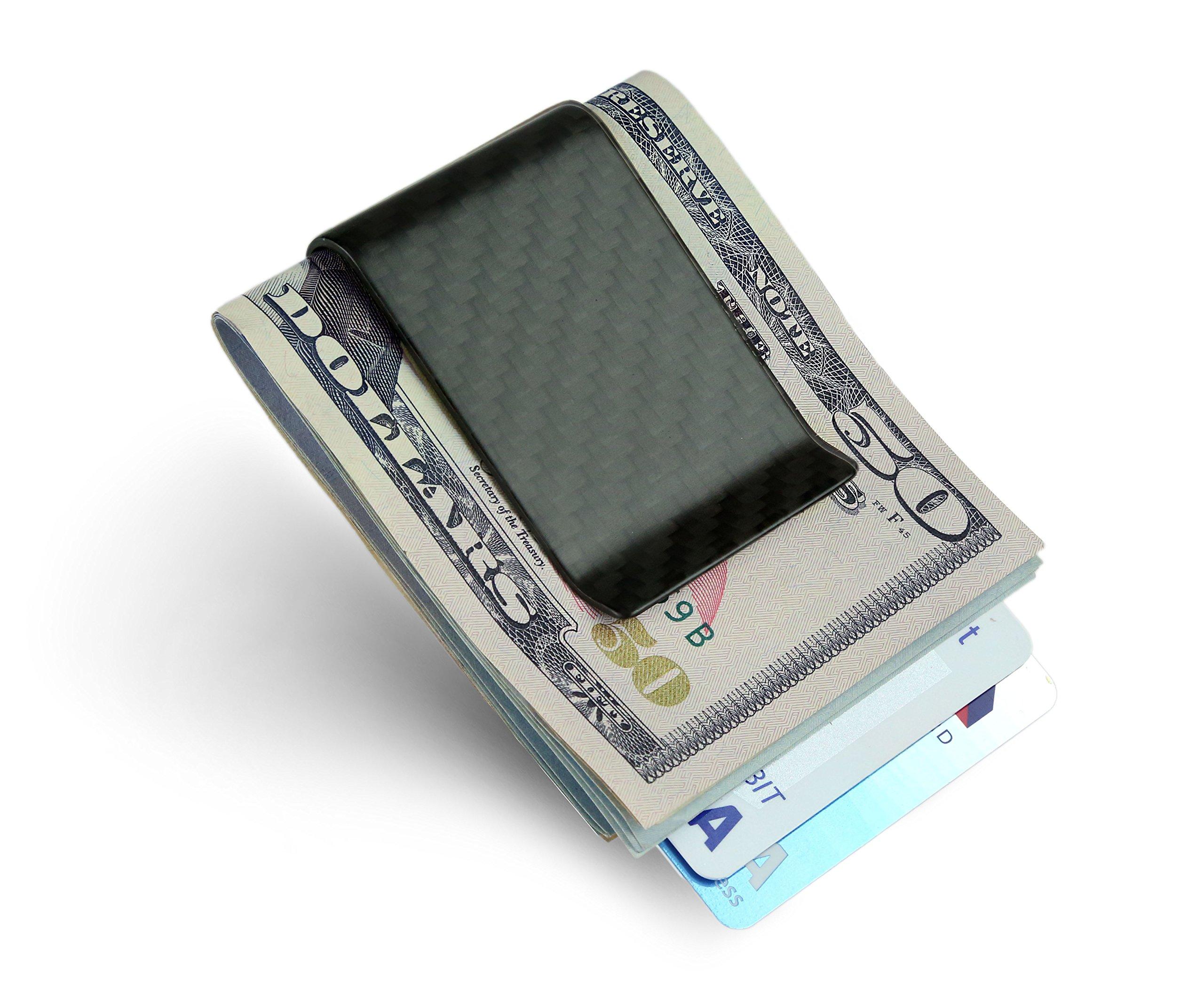 Carbon Fiber Money Clip Credit Card holder - SERMAN BRANDS Slim Business Card Holder Clips for men Glossy (Matte)